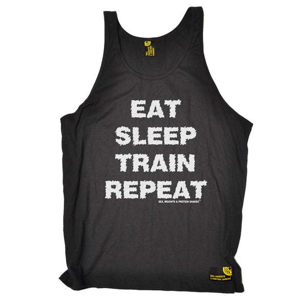 SWPS Eat Sleep Train Repeat Sex Weights And Protein Shakes Gym Vest Top