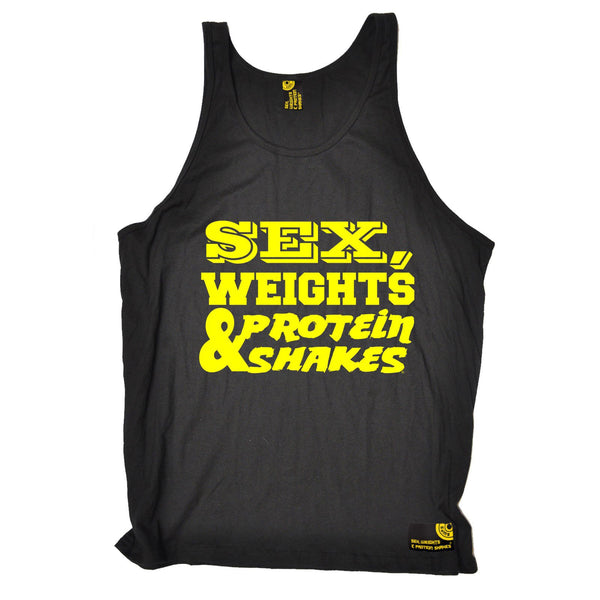 Sex Weights and Protein Shakes Yellow Text Design Sex Weights & Protein Shakes Gym Vest Top
