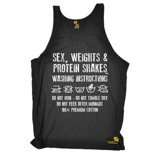 Sex Weights and Protein Shakes Washing Instructions Sex Weights And Protein Shakes Gym Vest Top