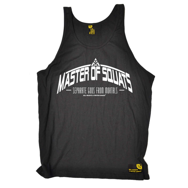 Sex Weights and Protein Shakes - Master Of Squats - Gym DRYFIT PERFORMANCE VEST SINGLET TOP