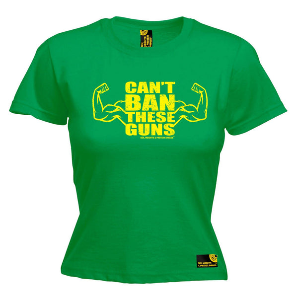 SWPS Women's Can't Ban These Guns Sex Weights And Protein Shakes Gym T-Shirt