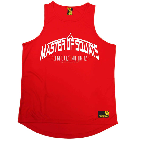 SWPS Mens - Master Of Squats - Gym DRYFIT ACTIVE WEAR TRAINING VEST SINGLET TOP