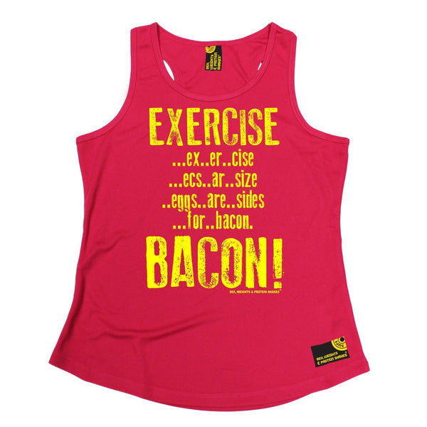 SWPS Exercise Bacon Sex Weights And Protein Shakes Gym Girlie Training Vest