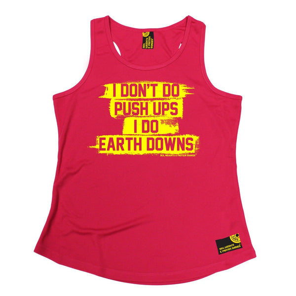 SWPS I Don't Do Push Ups … Earth Downs Sex Weights And Protein Shakes Gym Girlie Training Vest