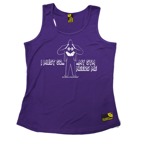 I Must Go ... My Gym Needs Me Girlie Performance Training Cool Vest