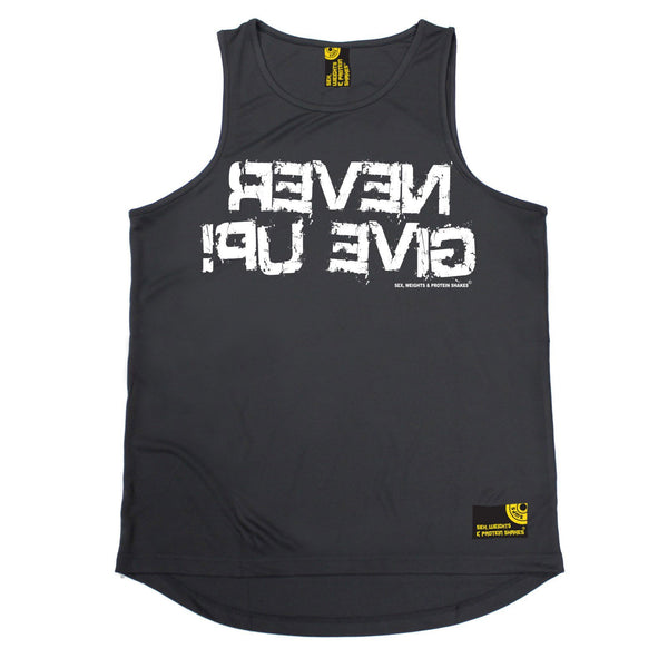SWPS Never Give Up Sex Weights And Protein Shakes Gym Men's Training Vest