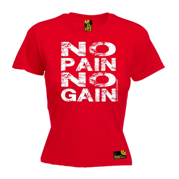 Sex Weights and Protein Shakes GYM Training Body Building -  Women's No Pain No Gain - FITTED T-SHIRT - SWPS Fitness Gifts