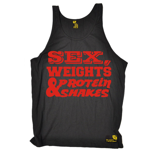 Sex Weights and Protein Shakes Sex Weights & Protein Shakes Red Text Gym Vest Top