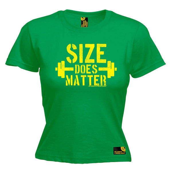 SWPS Women's Size Does Matter Sex Weights And Protein Shakes Gym T-Shirt