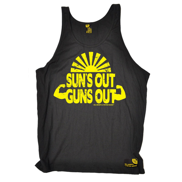 Sex Weights and Protein Shakes Suns Out Guns Out Sex Weights And Protein Shakes Gym Vest Top