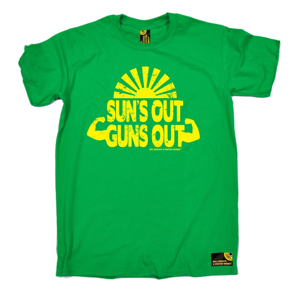 SWPS Men's Suns Out Guns Out Sex Weights And Protein Shakes Gym T-Shirt