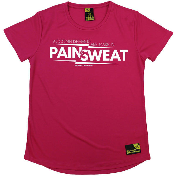 Women's SWPS - Accomplishments Pain And Sweat - Dry Fit Breathable Sports R NECK T-SHIRT