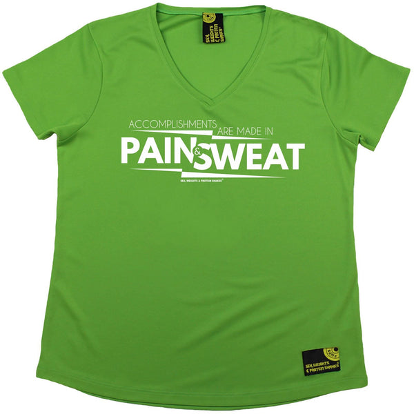 Women's SWPS - Accomplishments Pain And Sweat - Dry Fit Breathable Sports V-Neck T-SHIRT
