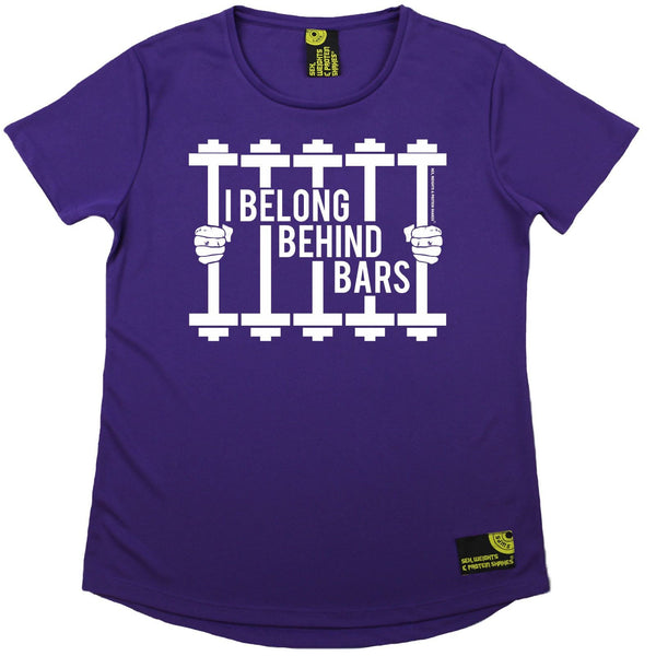 Women's SWPS - I Belong Behind Bars - Dry Fit Breathable Sports R NECK T-SHIRT