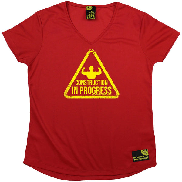 Women's SWPS - Construction In Progress - Dry Fit Breathable Sports V-Neck T-SHIRT