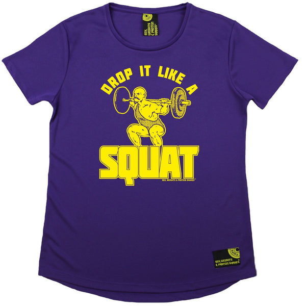 Women's SWPS - Drop It Like A Squat - Dry Fit Breathable Sports R NECK T-SHIRT