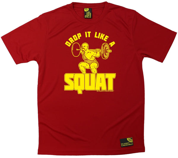 Men's Sex Weights and Protein Shakes - Drop It Like A Squat - Dry Fit Breathable Sports T-SHIRT