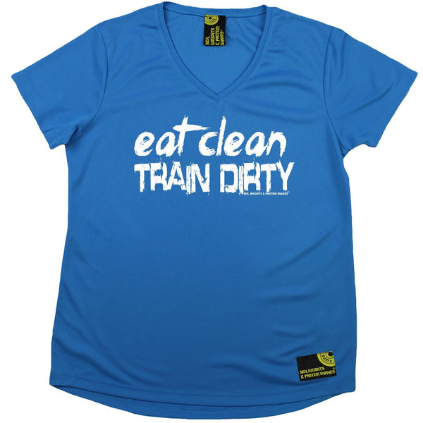 Women's SWPS - Eat Clean Train Dirty - Dry Fit Breathable Sports V-Neck T-SHIRT