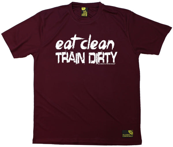 Men's Sex Weights and Protein Shakes - Eat Clean Train Dirty - Dry Fit Breathable Sports T-SHIRT