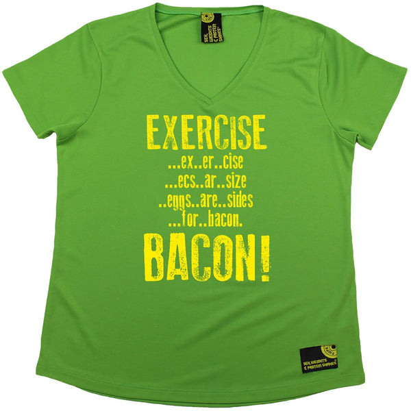 Women's Sex Weights and Protein Shakes - Exercise Bacon - Dry Fit Breathable Sports V-Neck T-SHIRT