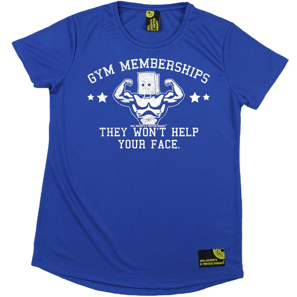 Women's SWPS - Gym Membership Wont Help Your Face - Dry Fit Breathable Sports R NECK T-SHIRT
