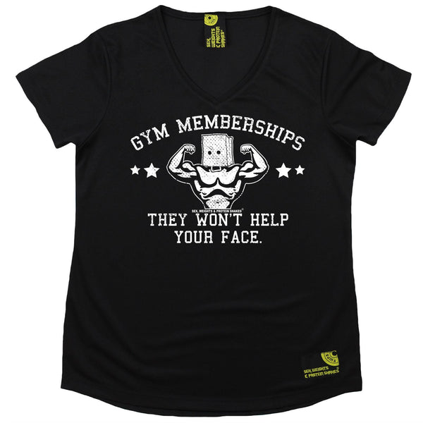 Women's SWPS - Gym Membership Wont Help Your Face - Dry Fit Breathable Sports V-Neck T-SHIRT