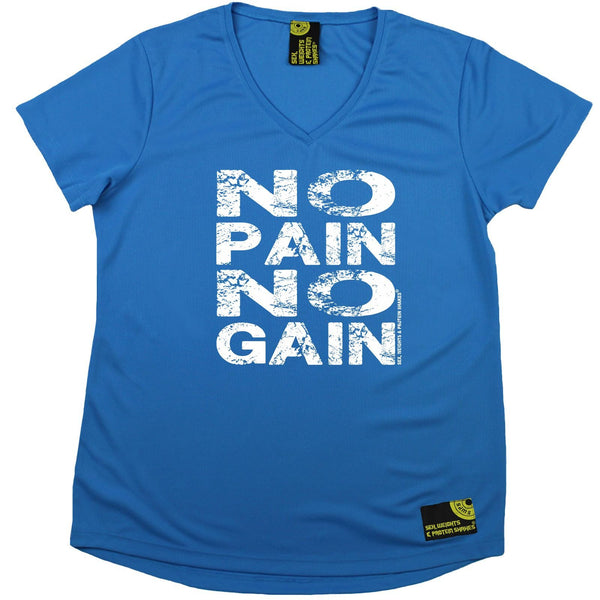 Women's Sex Weights and Protein Shakes - No Pain No Gain - Dry Fit Breathable Sports V-Neck T-SHIRT