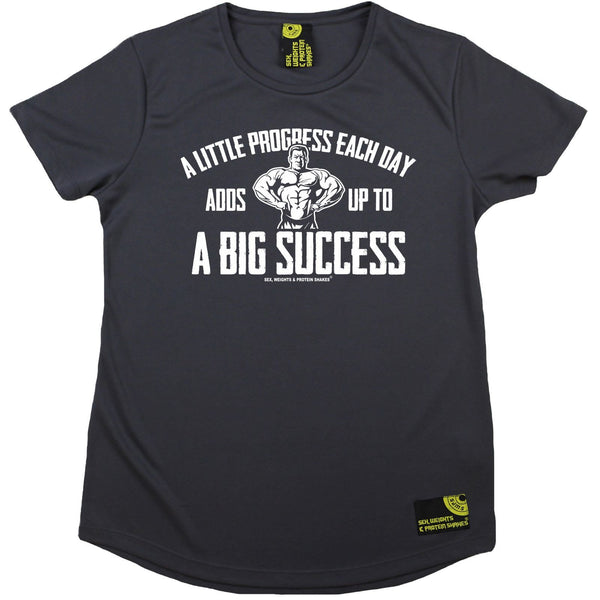 Women's Sex Weights and Protein Shakes - Progress Success - Dry Fit Breathable Sports R NECK T-SHIRT