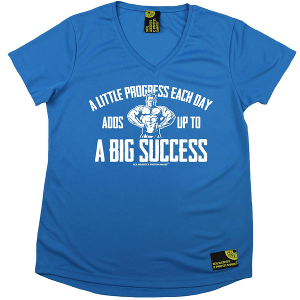 SWPS Women's - A Little Progress A Big Success - Gym DRYFIT PERFORMANCE V NECK T-SHIRT