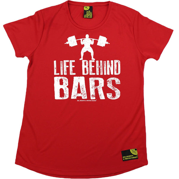Women's SWPS - Life Behind Bars Dumbbell - Dry Fit Breathable Sports R NECK T-SHIRT
