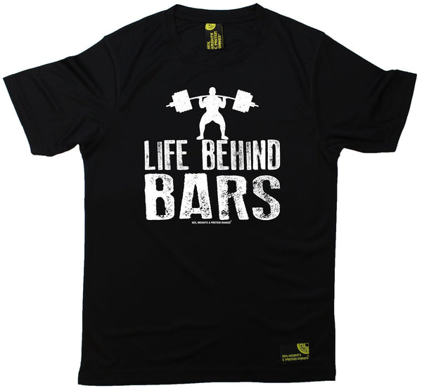 Men's Sex Weights and Protein Shakes - Life Behind Bars Dumbbell - Dry Fit Breathable Sports T-SHIRT