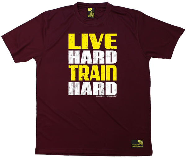 Men's Sex Weights and Protein Shakes - Live Hard Train Hard - Dry Fit Breathable Sports T-SHIRT