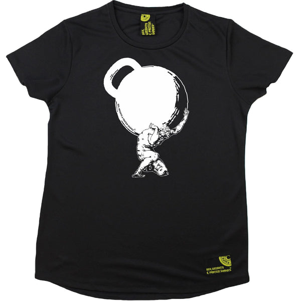 Women's SWPS - Kettlebell Weights Mythology - Dry Fit Breathable Sports R NECK T-SHIRT