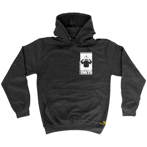 Protein Flexing ... White Breast Pocket Design Hoodie