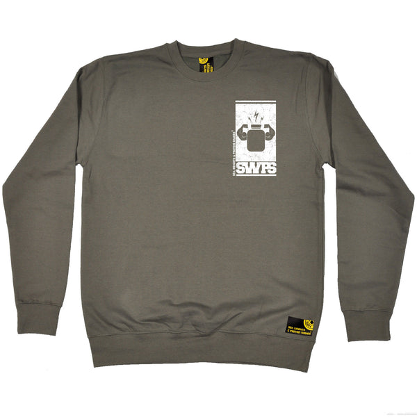 Protein Flexing ... White Breast Pocket Design Sweatshirt