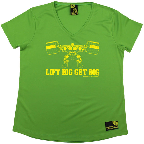Women's Sex Weights and Protein Shakes - Lift Big Get Big - Dry Fit Breathable Sports V-Neck T-SHIRT