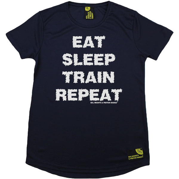 Women's SWPS - Eat Sleep Train Repeat - Dry Fit Breathable Sports R NECK T-SHIRT