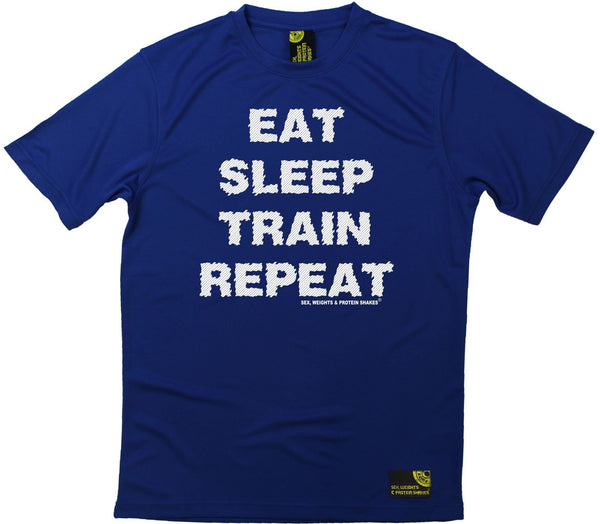 Men's Sex Weights and Protein Shakes - Eat Sleep Train Repeat - Dry Fit Breathable Sports T-SHIRT
