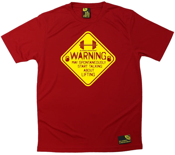 Men's SWPS - Warning May Talk About Lifting - Dry Fit Breathable Sports T-SHIRT