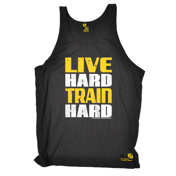 Sex Weights and Protein Shakes Live Hard Train Hard Sex Weights And Protein Shakes Gym Vest Top