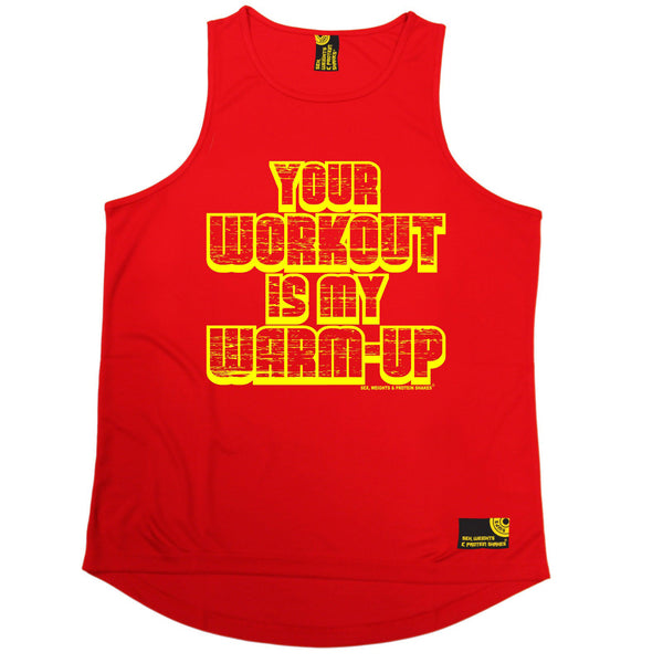 Sex Weights and Protein Shakes GYM Training Body Building -  Your Workout Is My Warm Up - MEN'S PERFORMANCE COOL VEST - SWPS Fitness Gifts