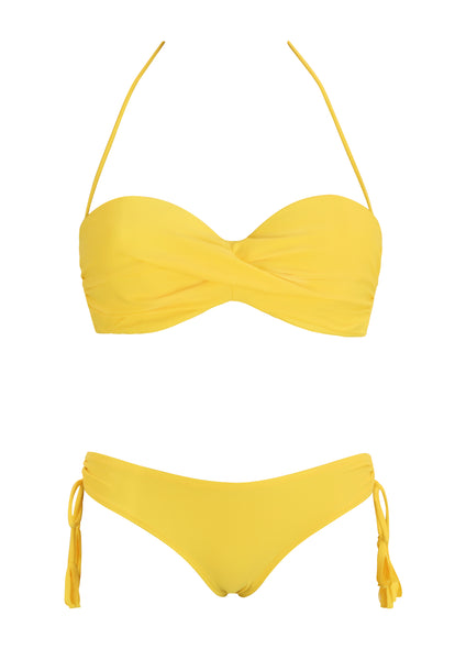 Andressa Yellow Twist Bandeau with Ruched Hipster Bottom