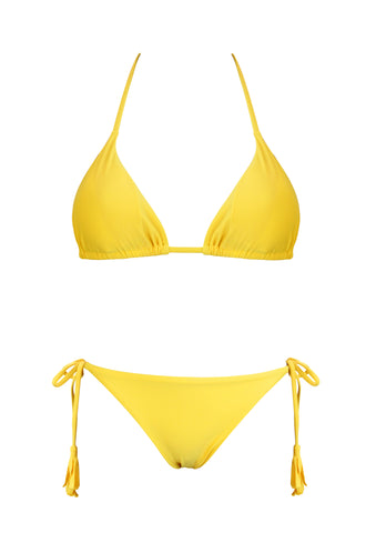 Andressa Yellow Triangle Top with Latin Tie Side Bottom