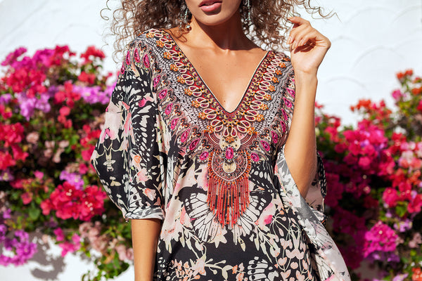 Pink Butterfly Diana Short Kaftan - Resort Collection