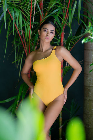 Andressa Yellow Over One Shoulder Onepiece