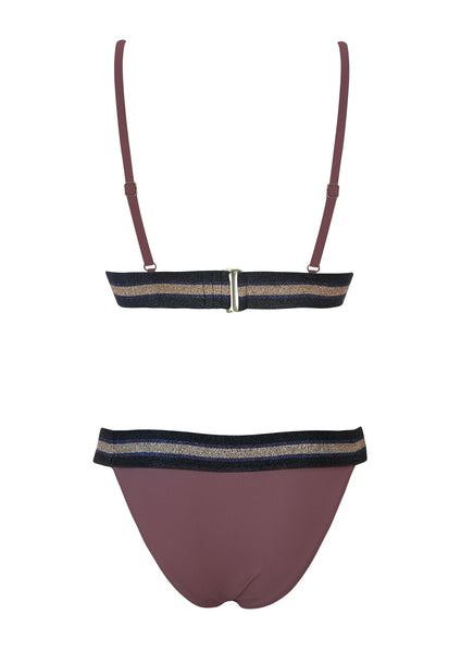 Maroon Banded Halter Top with Banded Latin Bottom