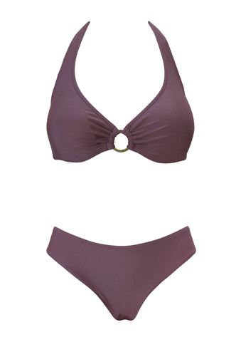 Maroon Underwired Halter Top with Hipster Bottom