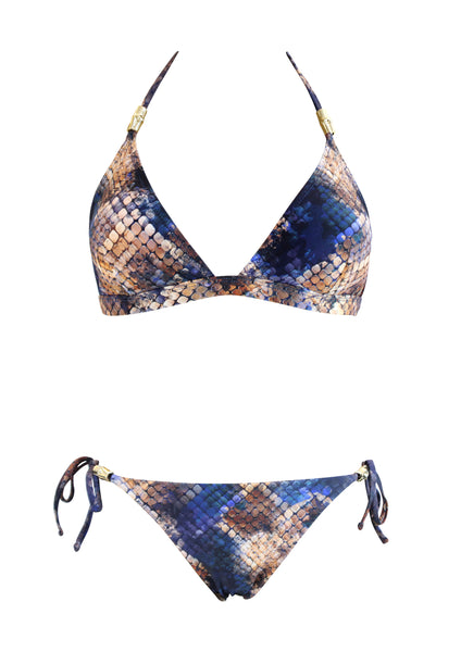 Mosaic Snake Fixed Triangle Top with Latin Tie Side Bottom