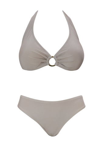 Paros Sand Underwired Halter Ring Top with Hipster Bottom