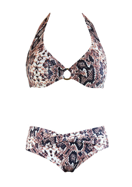 Stella Snake Halter Top with Front Twist Hipster Bottom